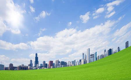 Green grass and  downtown Standard-Bild