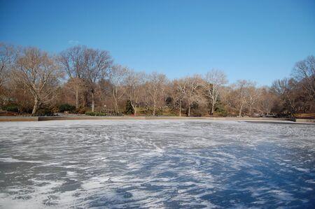 frozen lake: Bevroren meer in Central Park, NYC