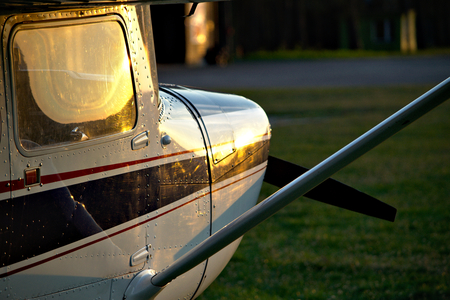 small plane: Small plane at sunset