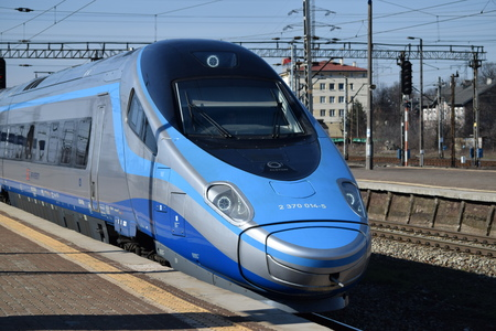 intercity: Warsaw, POLAND - March 23, 2015: ETR610 Pendolino fast train operated by PKP Intercity.