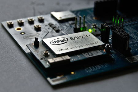 Warsaw, POLAND - February 19, 2017: Intel Edison IoT module with Arduino board.