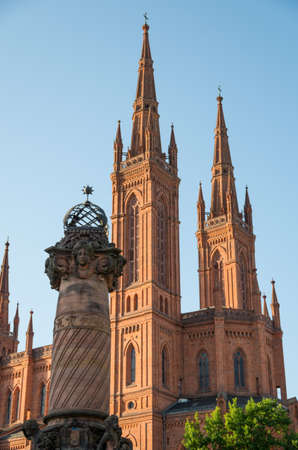 Marktkirche in Wiesbaden on a summers afternoon