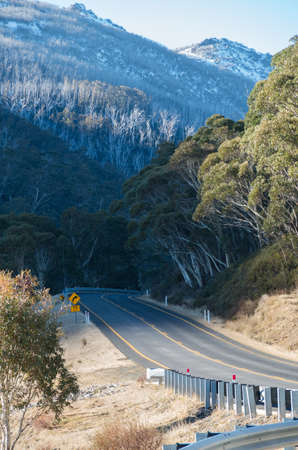 Alpine way driving towards Jindabyne in the snowy mountains, Australia