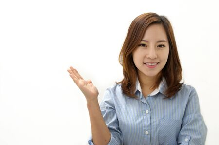 Showing businesswoman Stock Photo