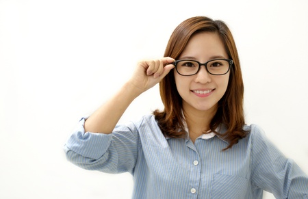 Business woman with glasses and a smile