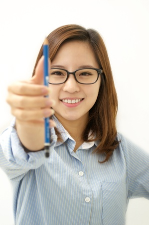 Smiling woman with a pen photo
