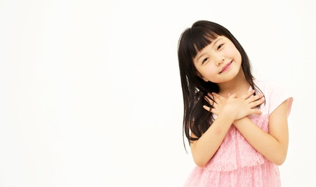 Little girl on white background  Stock Photo