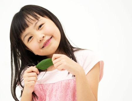 Beautiful asian girl with a leaf photo