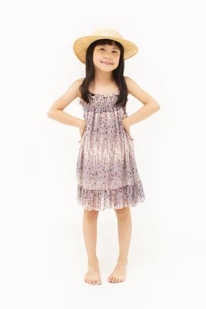 korean girl: Happy little girl on white background