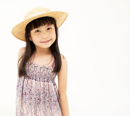 Happy little girl on white background Stock Photo - 18735133