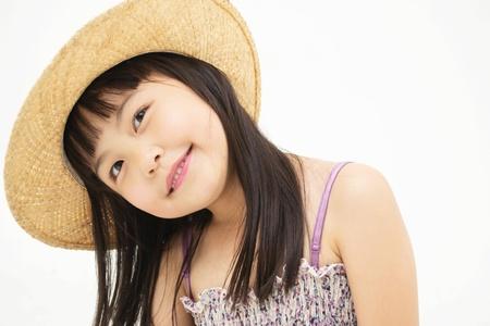 Beautiful asian little girl thinking photo