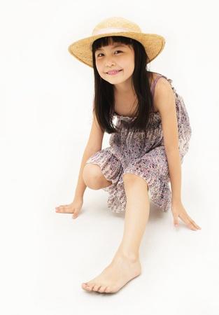 one little girl: Ready to run Stock Photo