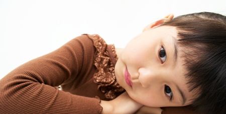 Beautiful asian girl thinking
