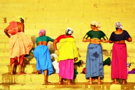 Women change their clothes, Varanasi, India Stock Photo