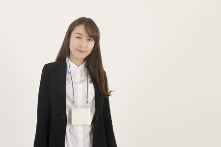 businesswoman card: Beautiful young asian businesswoman with id card