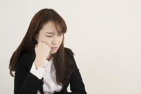 business concern: Stressed asian businesswoman