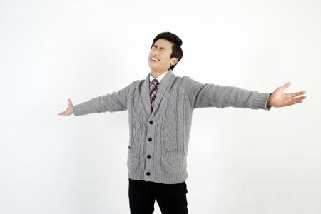 spreading arms: Successful businessman spreading arms