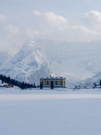 lake misurina: Frozen Lake Misurina in Dolimites, Italy