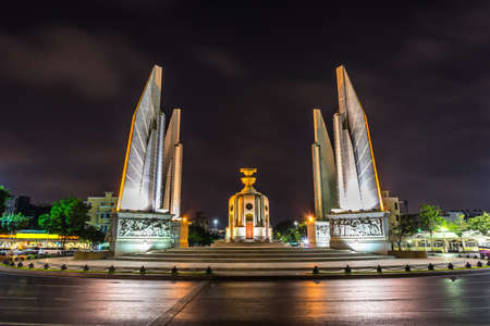 A night shot of the Democracy Monument, one of the most important landmarks in Bangkok, Thailand