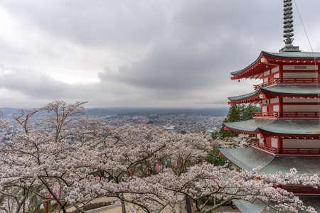 chureito: Landscape view from the top of Chureito Pagoda in Kawaguchi-ko, Fujiyoshida, Japan