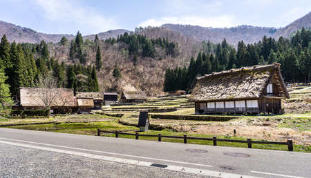 gassho zukuri: Japanese Gassho-style houses at the entrance of Shirakawa-go traditional village in Japan Stock Photo