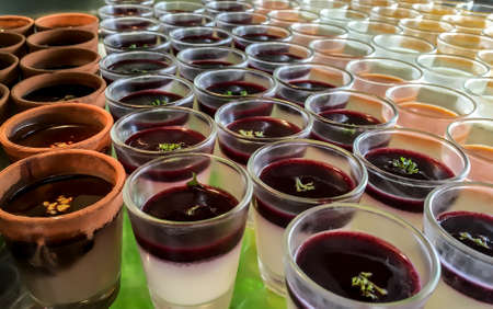 flavours: Different flavours of panna cotta