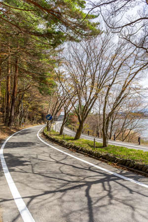 scenary: Beautiful scenary of Kawaguchiko lakeside at Momiju Tunnel in Japan Stock Photo