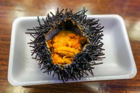 uni: Japanese Food: Fresh sea urchin (uni) from the local market in Japan Stock Photo