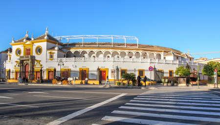 bull fighting: Bull fighting stadium (Plaza de toros de la Real Maestranza de Caballería de Sevilla) in Sevilla, Spain