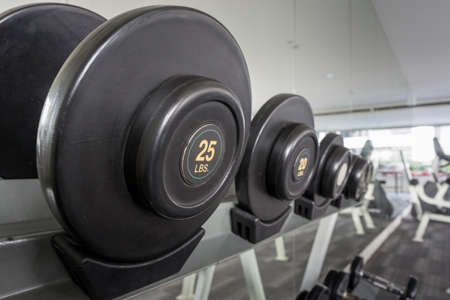 lb: 25lbs dumbbell on a rack in the fitness room, shallow DOF
