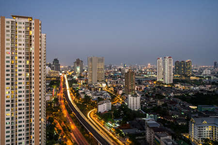 high rises: Cityscape: The city view of low and high rises buildings in Bangkok, Thailand