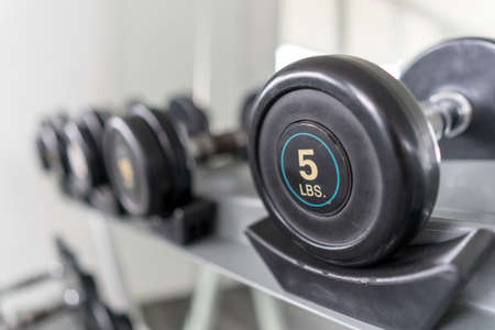 5lbs dumbbell on a rack in the fitness room, shallow DOF Stockfoto