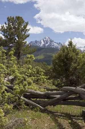san juans: Mount Sneffels and a Log Fence