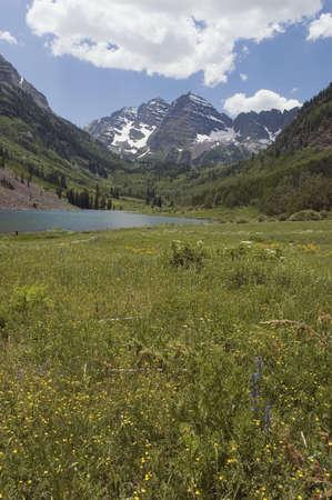 Maroon Bells and Maroon Lake, Colorado Stock Photo