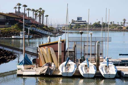 small boats at a dock