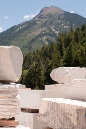 Marble blocks with the mountain containing the quarry in the background