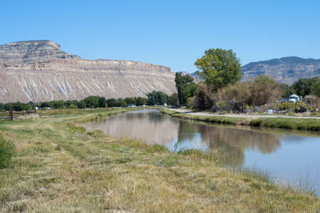 Countryside with Mt  Lincoln and an irrigation ditch near Palisade, Colorado