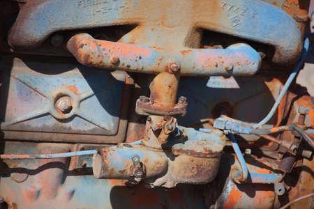 Détail d'un vieux moteur de camion Banque d'images