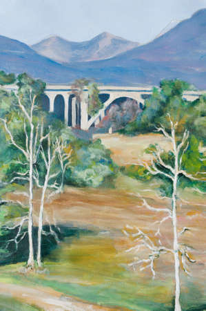 This original acrylic on canvas painting of the arroyo shows the area under the famous bridges with the San Gabriel Mountains in the distance.