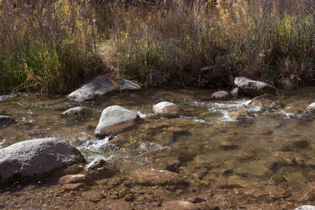 A sparkling clear stream runs over smooth rocks near Highway 141 in western Colorado