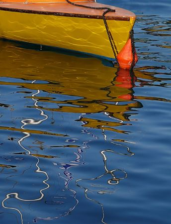 Colorful boat reflections create great abstract