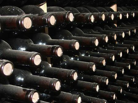 intoxicant: Bottiglie di vino in cantina righe.