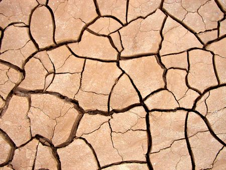 Close up of texture of dry, cracked dry earth.
