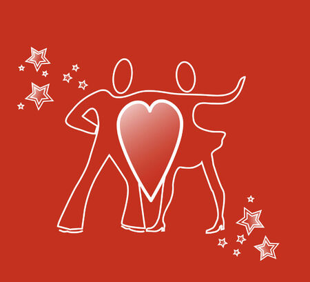 Illustration of dancing couple connected by big heart Vector
