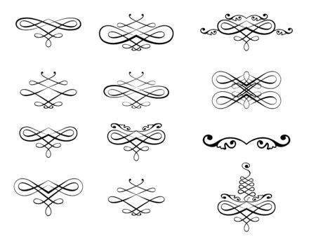 Vector illustration of twelve black curled patterns on white background.