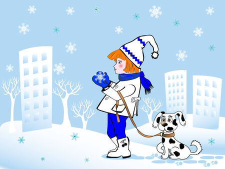 Cartoon girl and dog on background of cityscape Vector