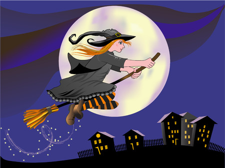 Cartoon young witch flying on a broom in moonlight