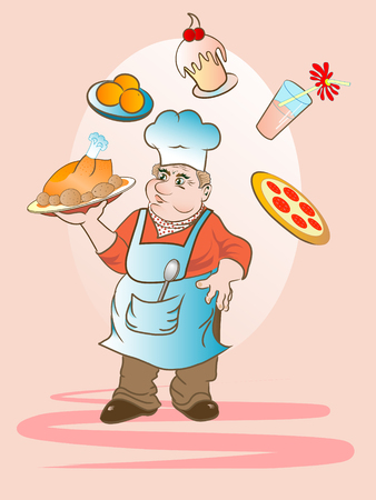 keeping: Cartoon cook keeping a plate with baked chicken Illustration