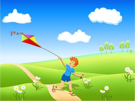 Boy running along the path with kite. Vector