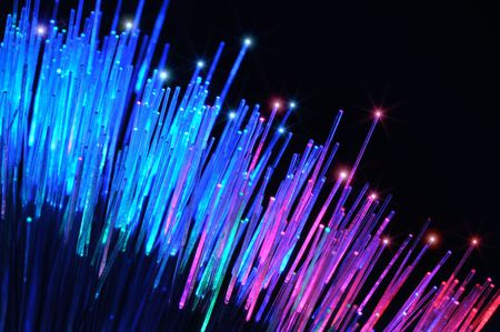 Closeup of colorful optical fibers photo